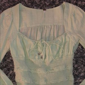 Free people green baby doll top